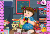لعبة تزيين الطفلة وتلبيسها وعمل تسريحة