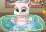لعبة استحمام القطة انجيلا الناطقة